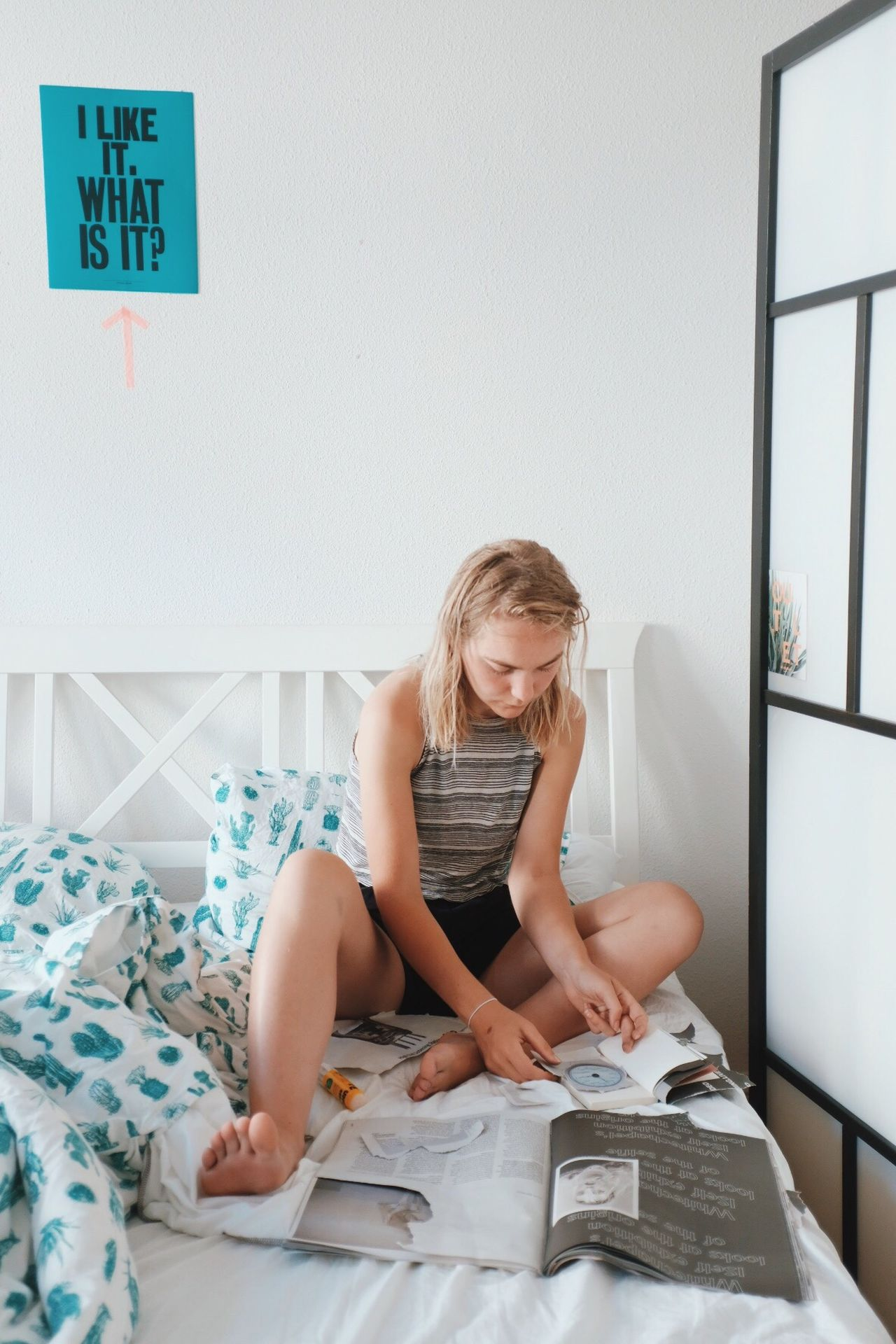 Sitting One Person Blond Hair Indoors  Full Length Bed Day Young Adult People Adult