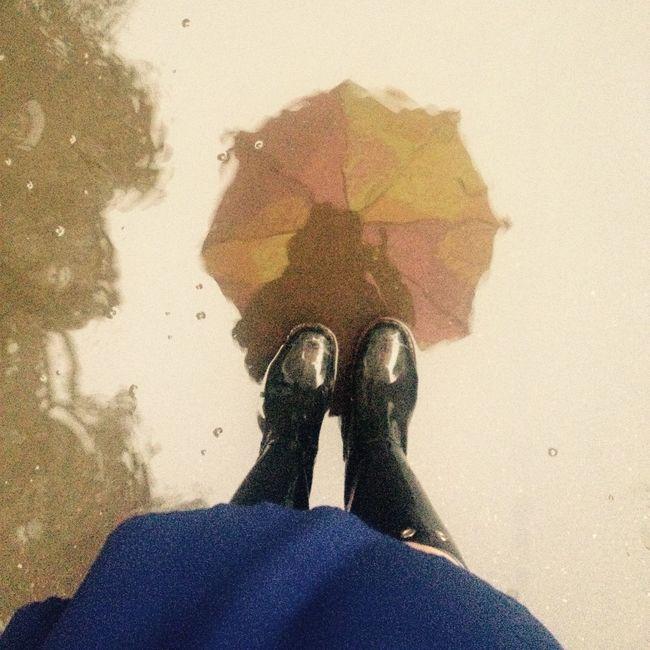 Rain Rainy Day Reflection Umbrella Rubber Boots Black Boots