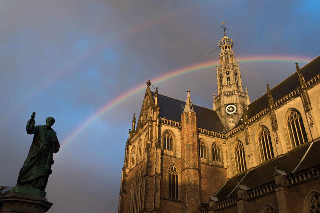 Arch Architecture Archtecture Cathedral Church Double Double Rainbow Double Rainbows Golden Hour Grote Markt Haarlem Overcast Sint Bavokerk Sunset Live For The Story The Great Outdoors - 2017 EyeEm Awards The Architect - 2017 EyeEm Awards