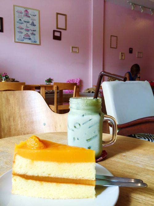 Tea Is Healthy Relaxing Mutcha Green Trees Cake Thailand Coffee Break Tuesday Yummy Eating Happy Hello World That's Me