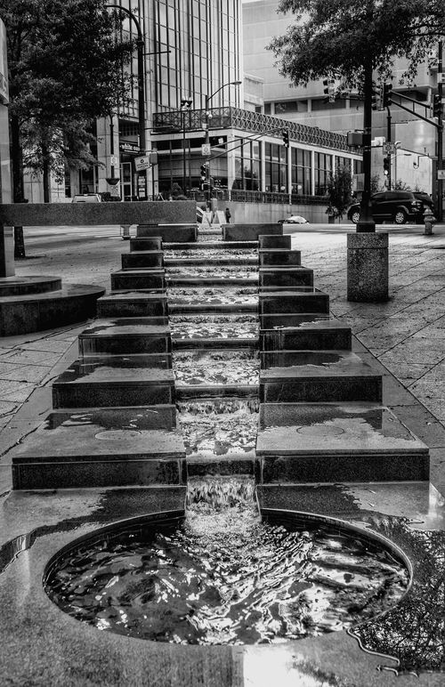 City Built Structure Outdoors Water Day No People Street Photo Black And White Photography Peachtree Street Blackandwhite Photography Atlanta Georgia Streetphotography Water Fountain