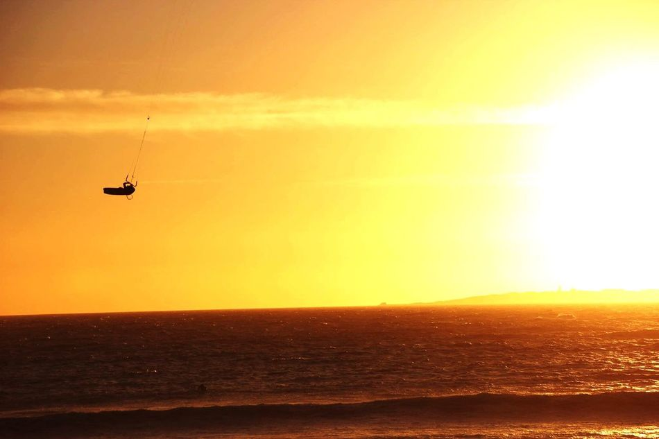 Sunset Sea Transportation Mode Of Transport Nature Water Scenics Beauty In Nature Sky Horizon Over Water Tranquility Tranquil Scene Silhouette Outdoors Nautical Vessel No People Day Kitesurf Kitesurfing King Of The Air Cape Town South Africa One Man Only Beach Silhouette