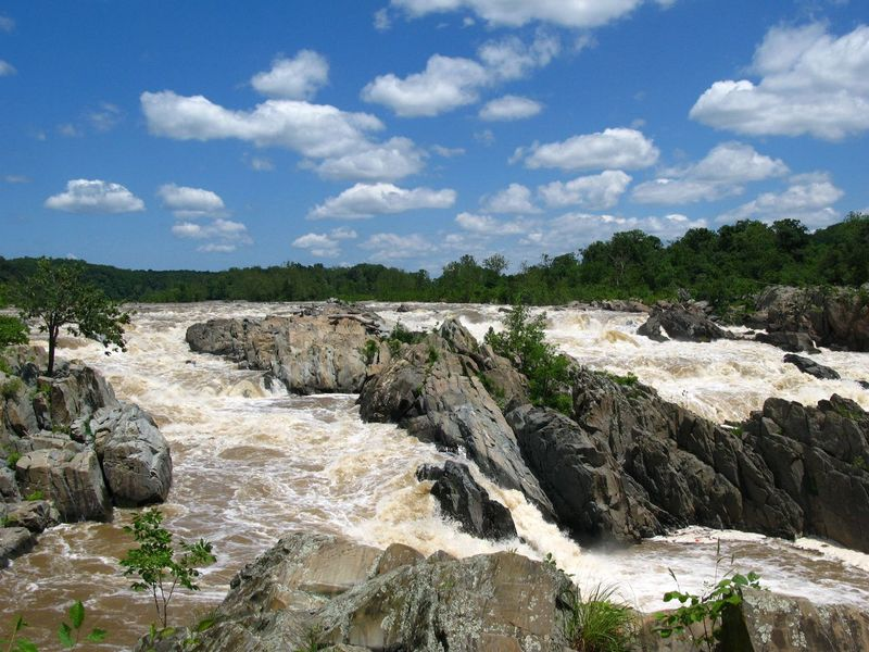 Beauty In Nature Cataract Cloud - Sky Day Falls Forest Landscape Motion Nature No People Outdoors Potomac River Rapids River Rock Rock - Object Scenics Sky Tranquility Tree Water Waterfall White Water