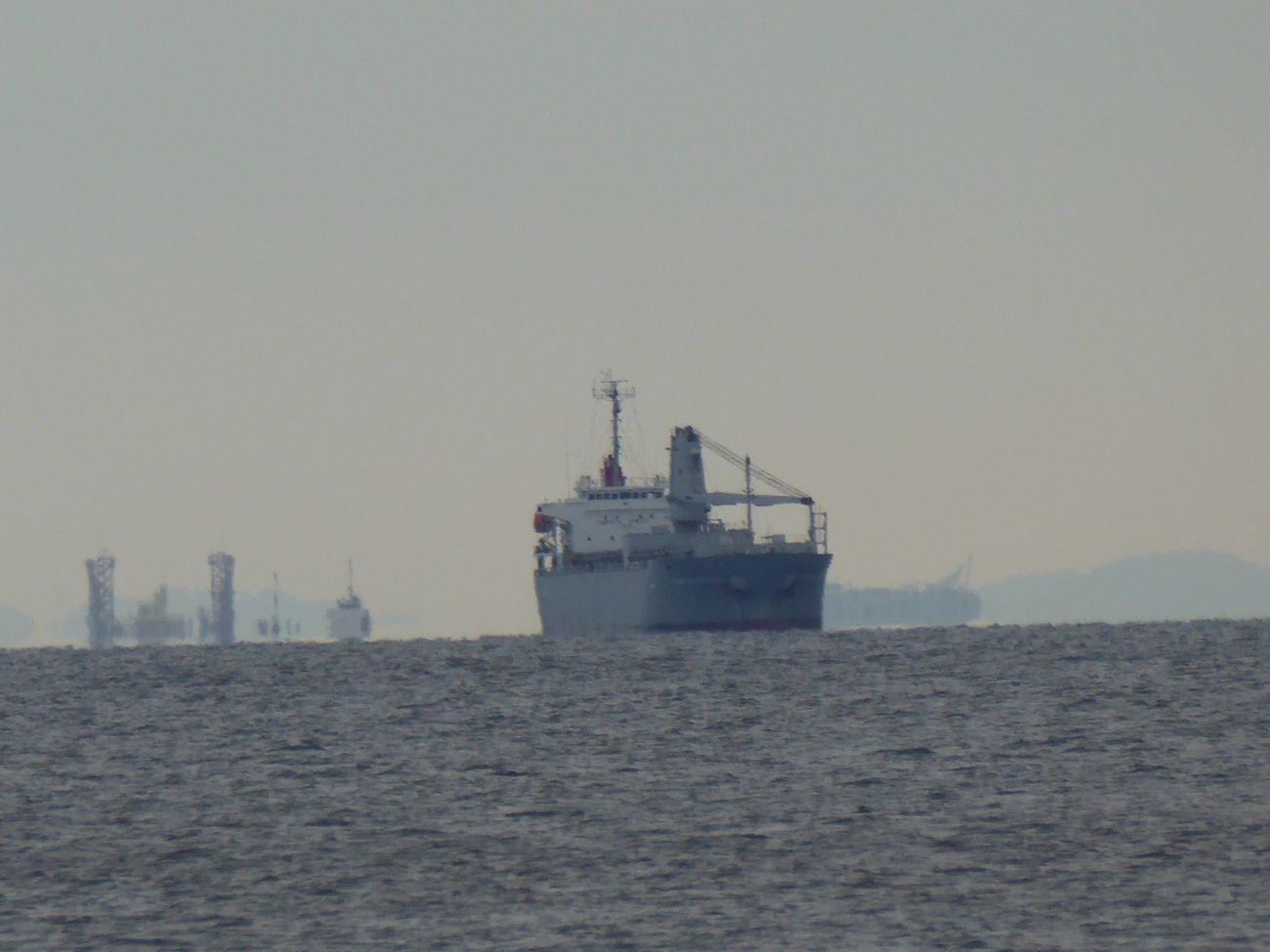 遠くに貨物船 Tadda Community 稲毛海浜公園