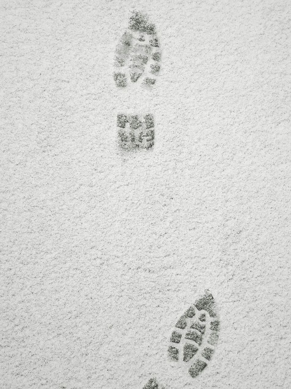 Put your best foot forward. Footprints Snow No People Close-up Day Full Frame Outdoors Nature Footprints In The Snow Blackandwhite Black And White Photography Black And White EyeEm Best Shots - Black + White ❄