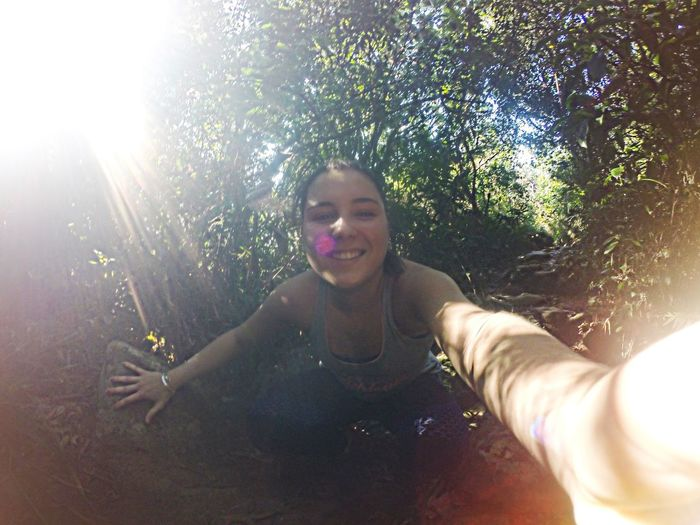 Happiness Tree Fun Front View Smiling Young Women Vacations Nature Cliff Trip Sunlight Day Serenity Brazilian Brazil Braziliangirl Surfgirl Radical Sun Sky Beauty In Nature Tranquility Traveling Travel