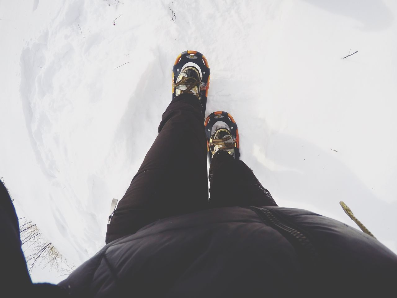 Low Section Of Person Hiking On Snow