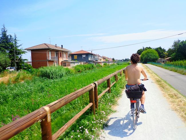 Cesena, Italy. Cycling Bicycle One Person Riding Rural Scene Outdoors Day Road Sky Rear View People Lost In The Landscape EyeEmNewHere