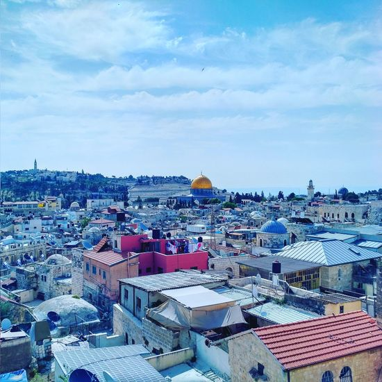 Beautiful morning in the old city of Palestine. ALAQSA Architecture Bluesky City Cityscape Cloud - Sky Culture Dawn Day Domeoftherock Jerusalem Mosque Nofilternoedit Original Palestine Rooftop Sky Terrace Travel Travel Destinations