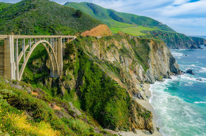 Coastal Beauty Beauty In Nature Big Sur Bixby Bridge Bridge California Coastline Day Landscape Mountain Nature No People Outdoors Scenics Sea Sky Tranquility Water