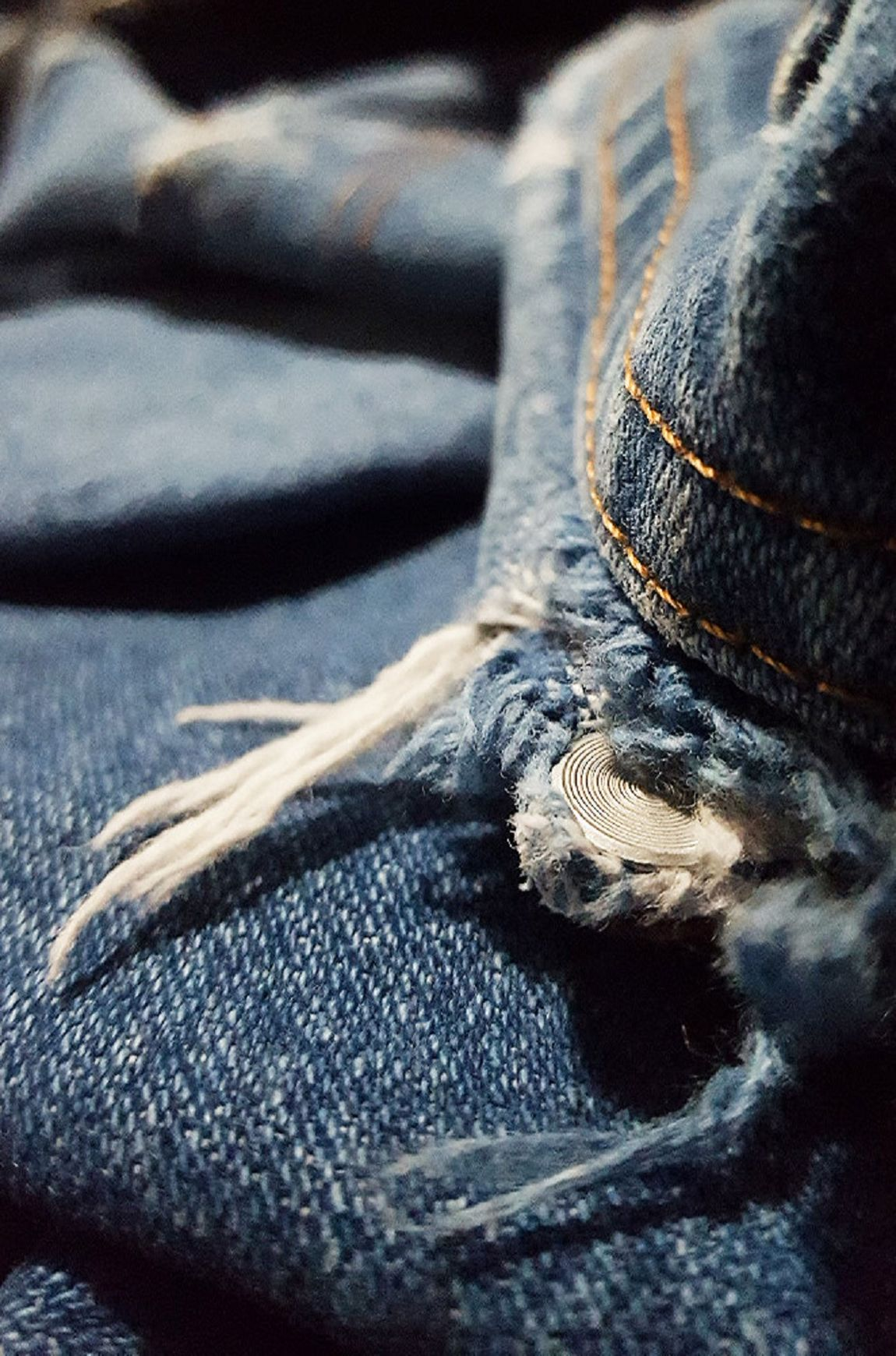 Blue jeans frayed Close-up Day Fabric Faded Material Holes Indoors  Men's Jean No People