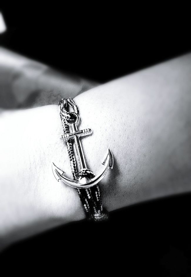 Anchor Bracelet Blackandwhite Black & White Close-up Jewelry Rope Charm Sailor Jewel Jewellery