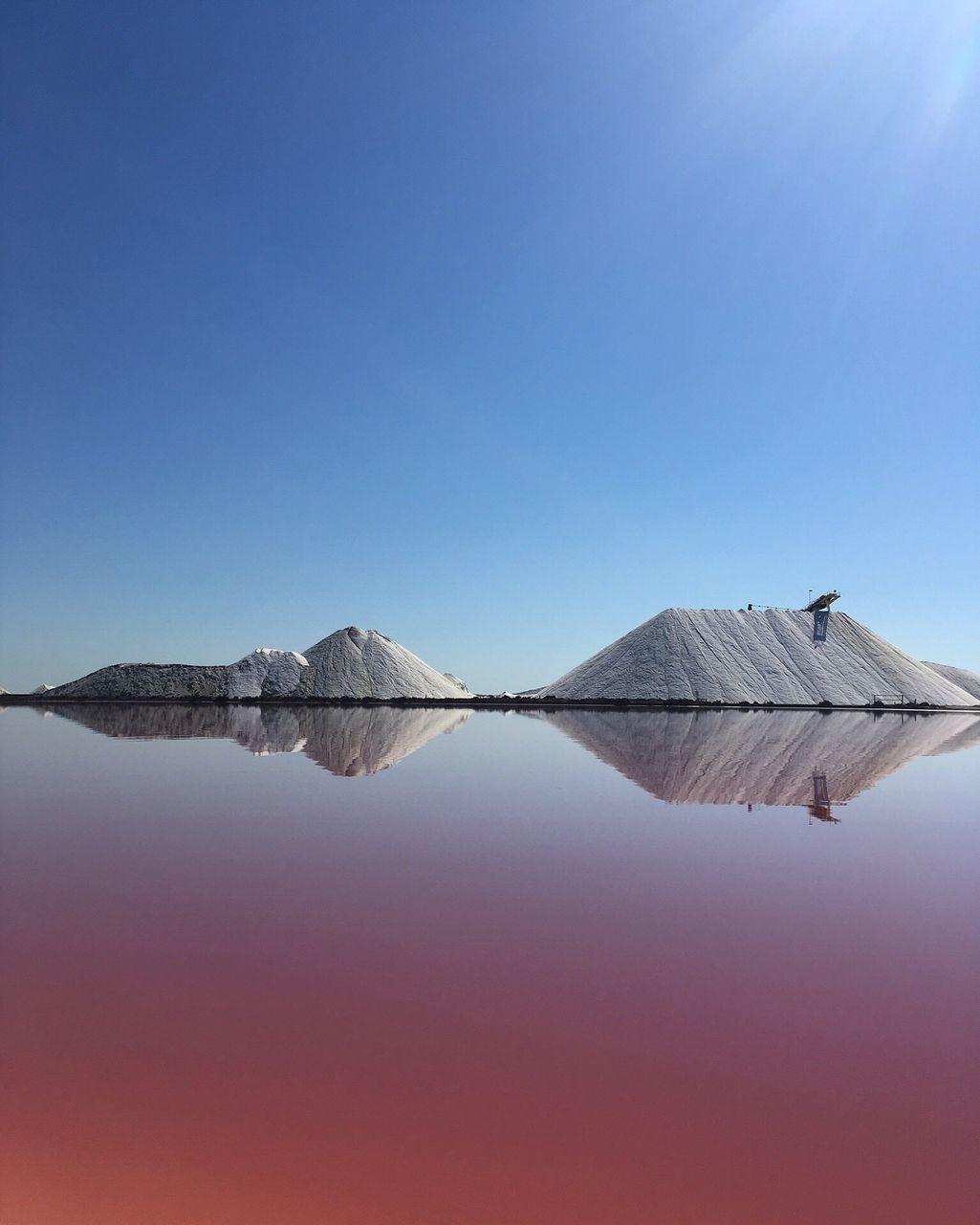 Salt Farm At Lake Against Clear Sky