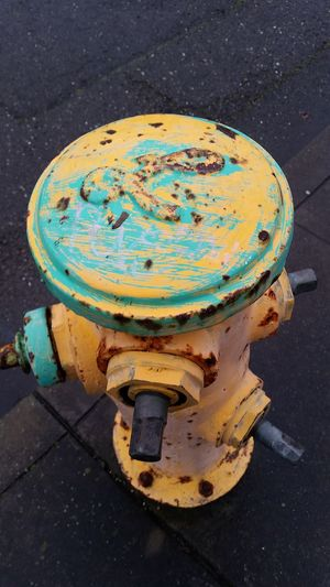 Art can be found anywhere. Pastel Power Art Fire Hydrant Chipped Paint Worn Aging City Simple Composition Outside Street Photography Street Urban Pastel Colors