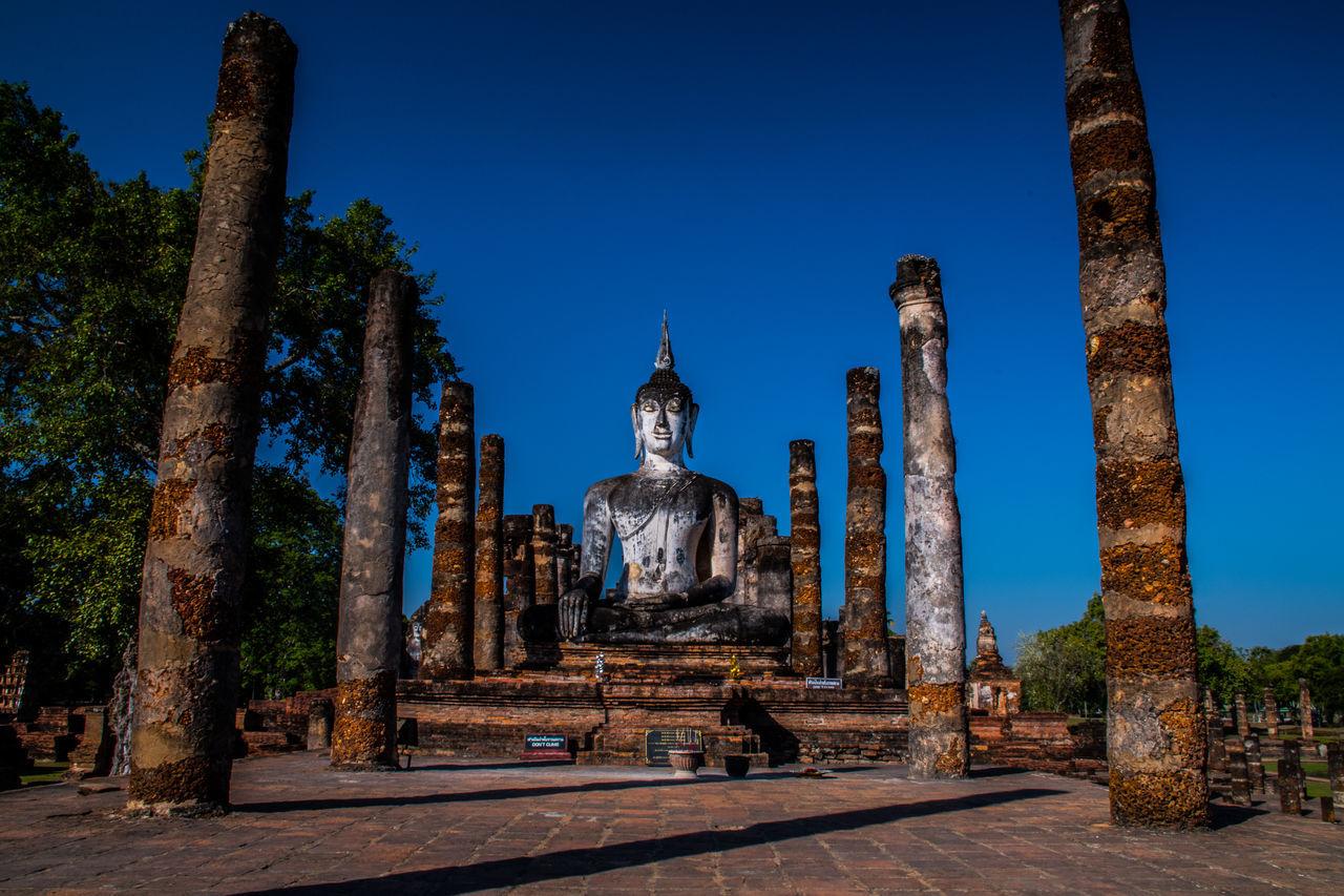 Thailand Sukhothaihistoricalpark Sukhothai Religion Outdoors Statue Day Landscape No People Architecture Tranquility Sky Blue