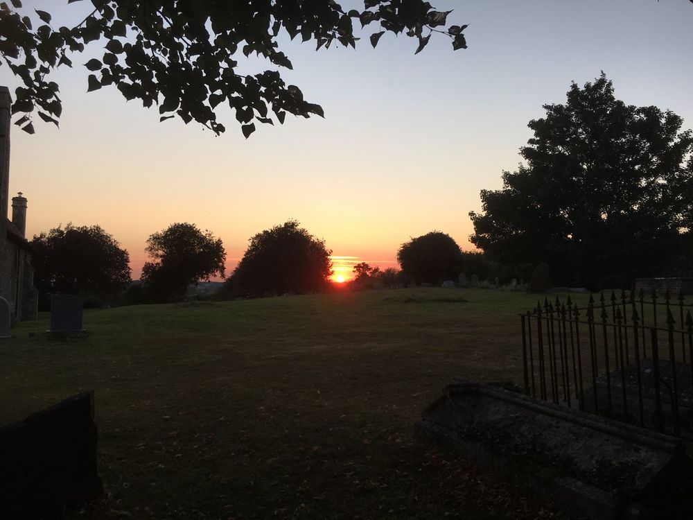 Sunset Red Sun Red Sunset Graveyard Beauty Graveyard Church Gardens Solitude Landscape Tranquil Scene Tranquility Scenics Tree Grass Clear Sky Remote Outdoors