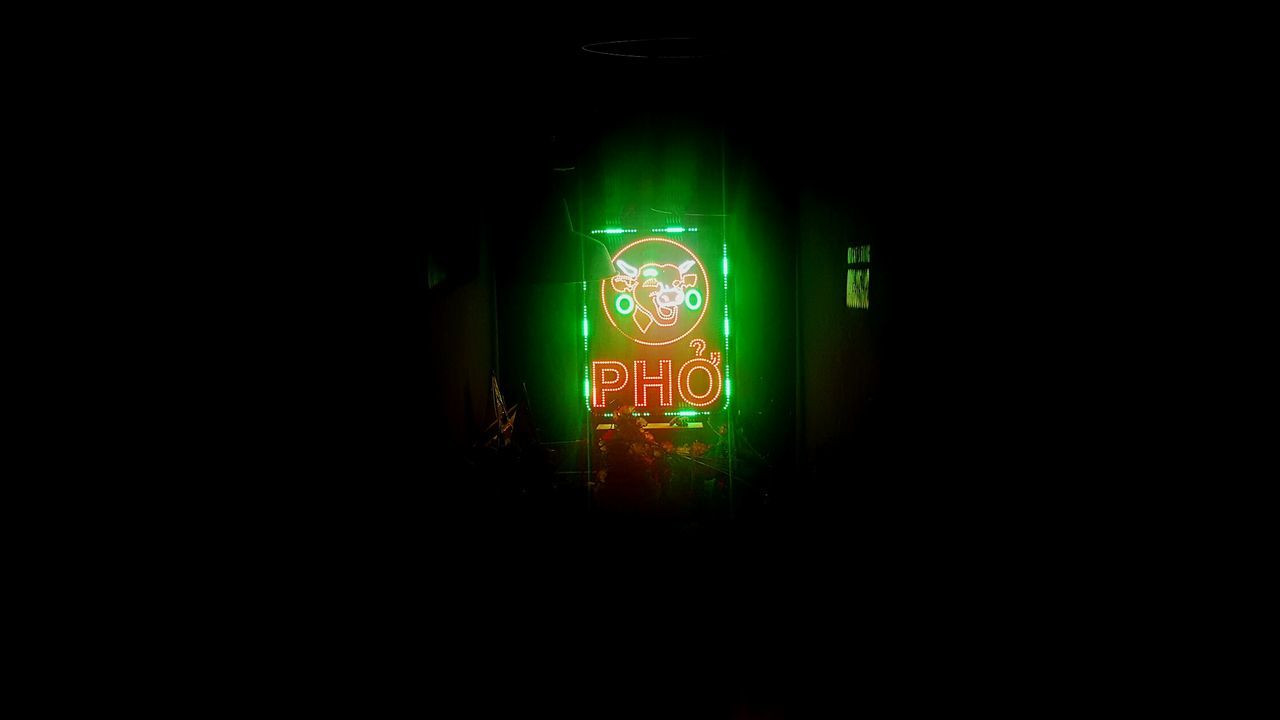 Illuminated Lighting Equipment Green Color Communication Night Exit Sign No People Close-up Neon Outdoors Pho Pho Bo Vietnam Vietnamese Food Cow Beef