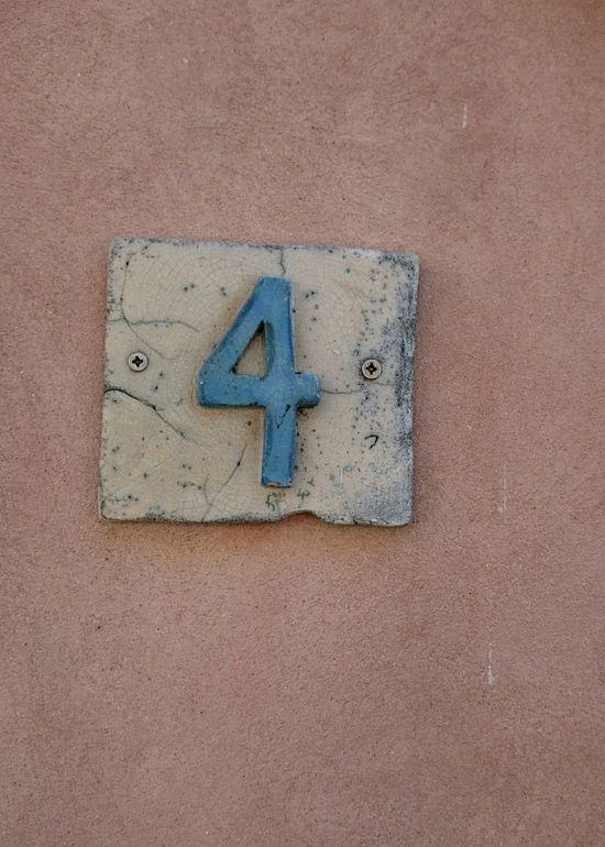 Number 4 Number Four Street Number Artistic Orange Color Orange Background Outdoors Design House Number House Number On Wall Decoration Detail Orange Wall