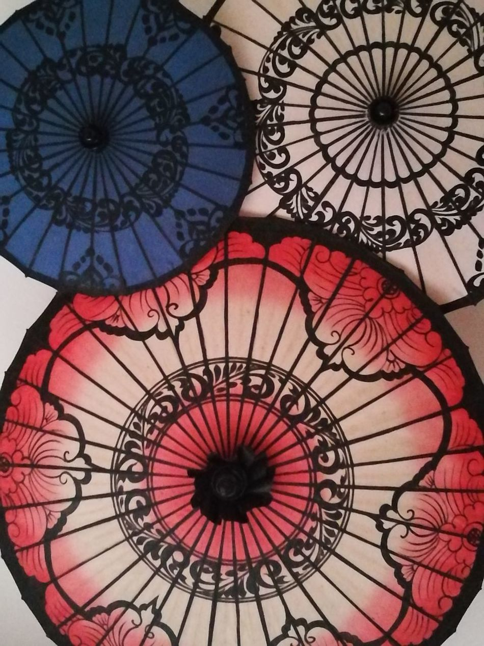 Umbrellas Traditional Culture Art Circles Travel Lamps Paintings Handmade Blue White And Red