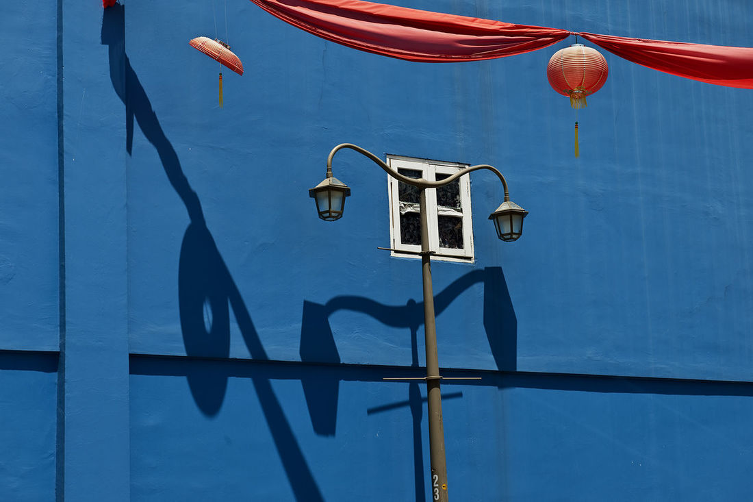 Lamp Post Blue Day Hanging Lanterns Light And Shadow No People Outdoors Wall - Building Feature Window