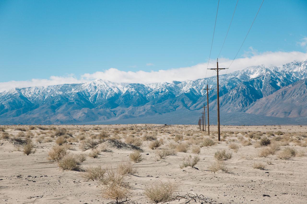Arid Climate Arid Landscape Blue Sky CA-190 California Death Valley Desert Dry Electricity Pylon LINE Mountain Range Peaks Road Roadtrip Snow