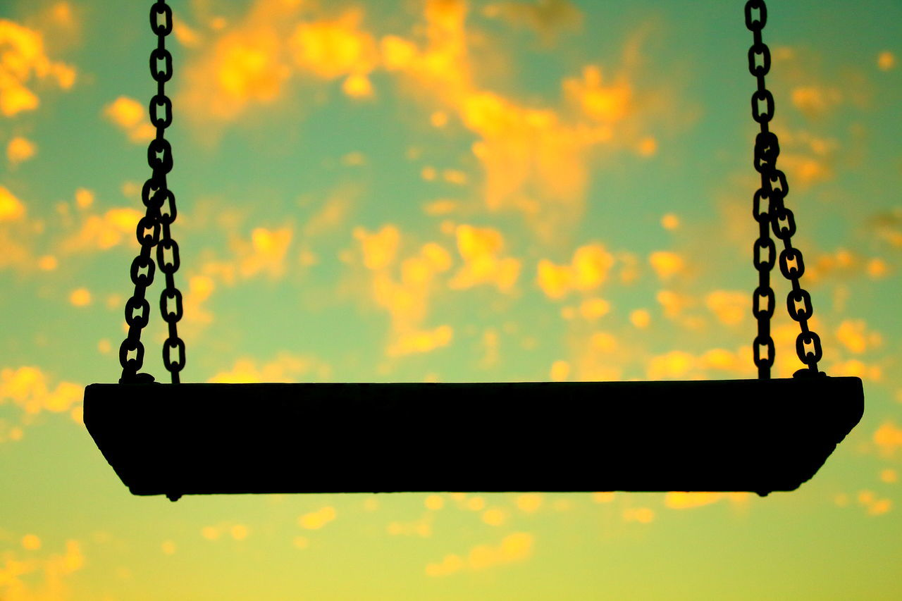 Hammock Metal Chain Swing Close-up No People Outdoors Day Outdoors Park Sky Sunset Rocking