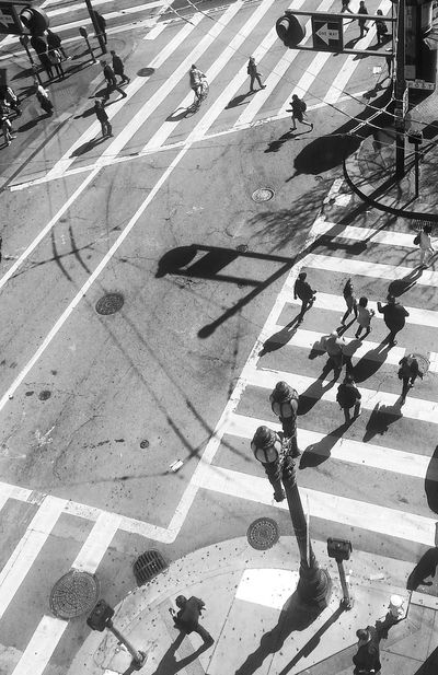 Black And White Black And White Photography Bw California Crosswalks Day High Angle View Intersection Outdoors People Samsung Galaxy S III San Francisco San Francisco In Black And White SF Snapseed Street Photography Sunlight