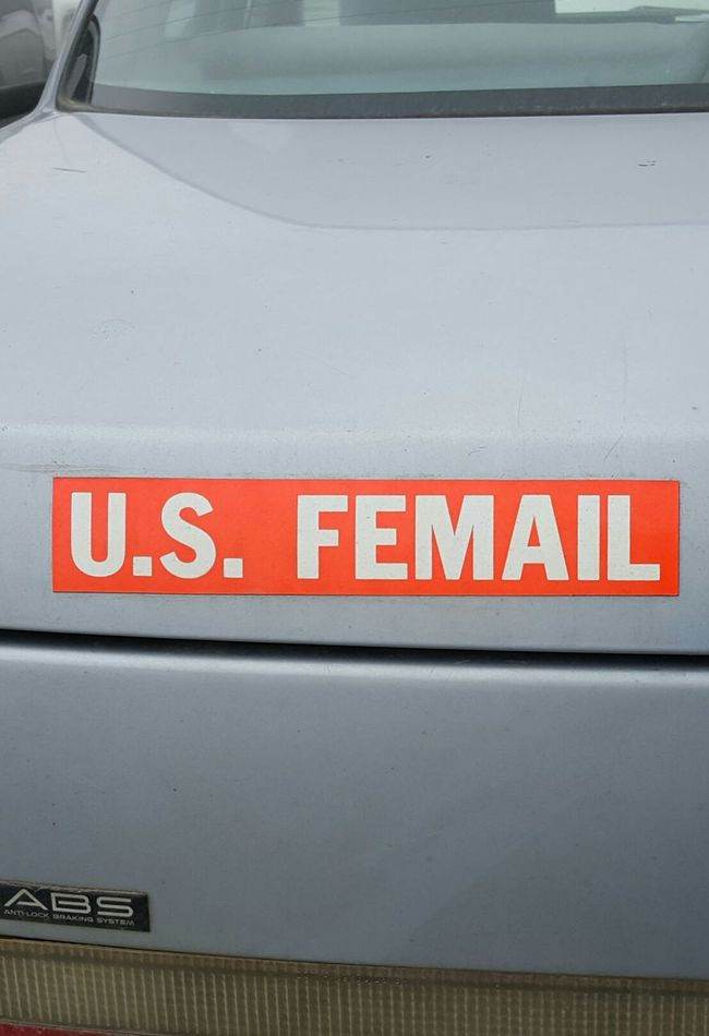 U.S. FEMAIL 1 Usfemail Femail Female Usps Postal Iamwomanhearmeroar Iamwoman Girlsrule Proud Cool Car