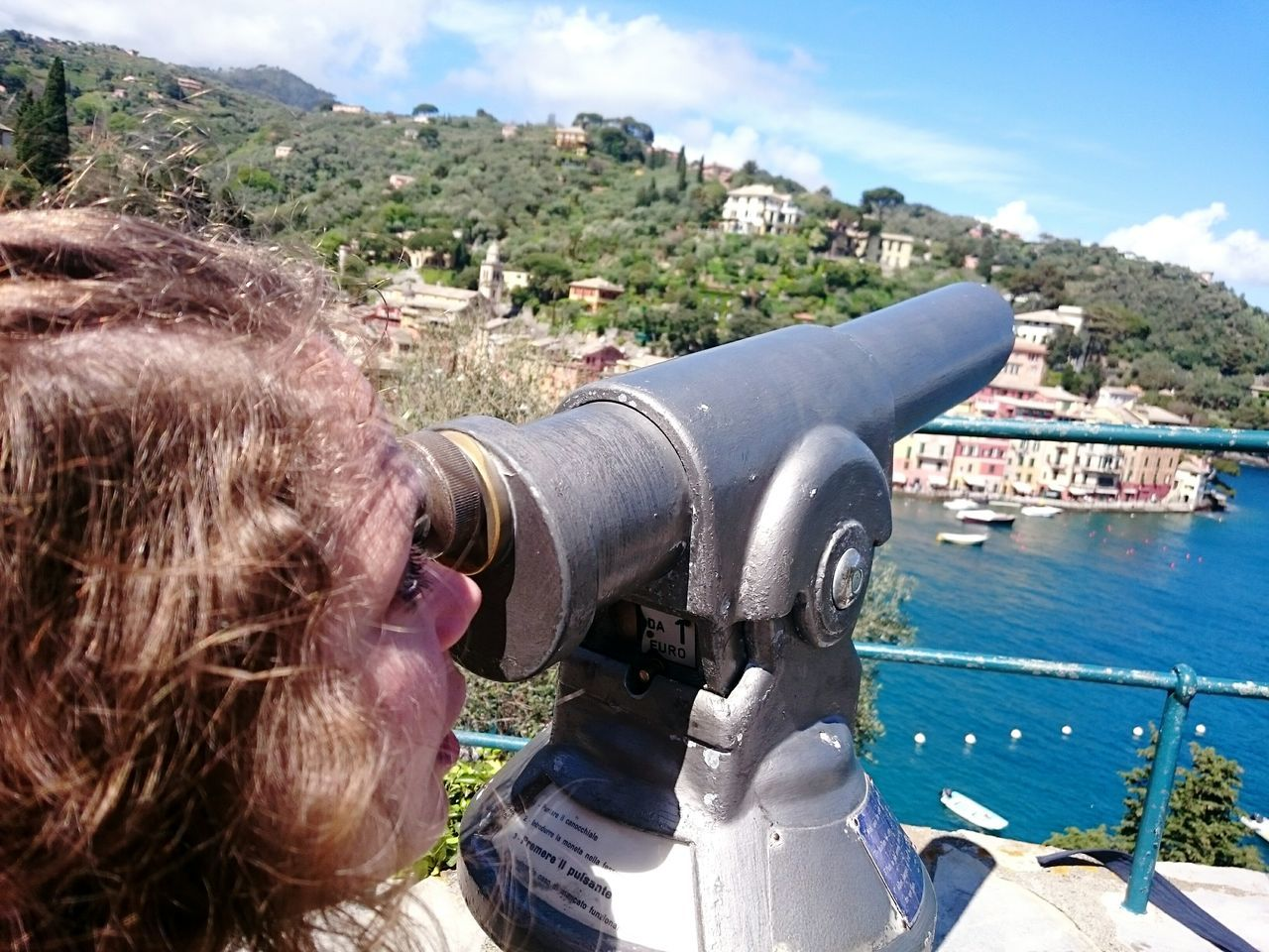 water, coin-operated binoculars, real people, one person, day, outdoors, telescope, hand-held telescope, sky, leisure activity, sea, close-up, nature, architecture, people