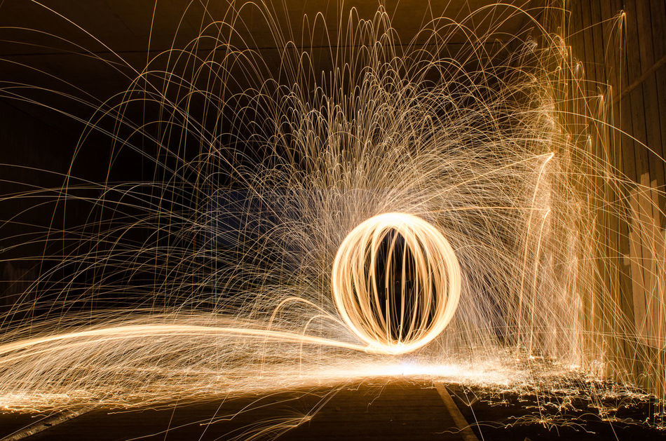 Balling At The Mall Dark Fire Fire Ball Fire Orb Lightpainting_photography No People Sparks Flying