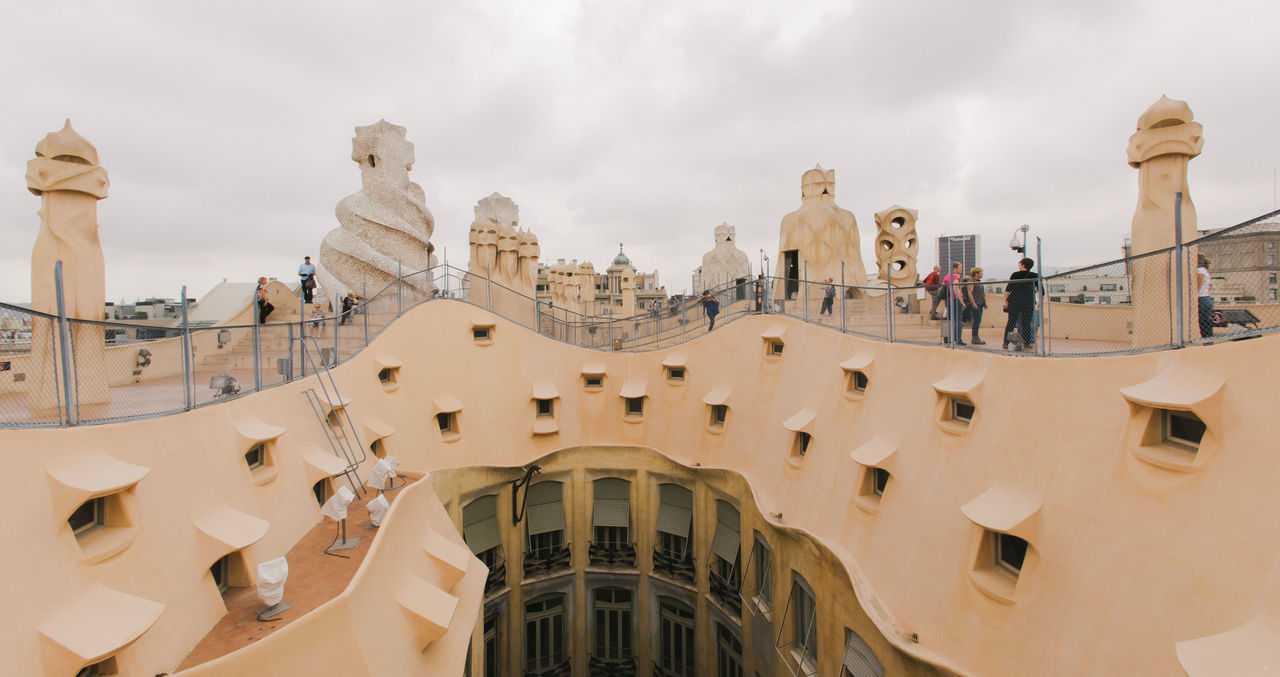 Roof Top View of Casa Mila, One of Antonio Gaudi's top attraction in Barcelona Antoni Gaudí Barcelona Casa Milà Gaudì Architecture Building Exterior Built Structure City Cloud - Sky House Outdoors Place To Be  Sculpture Travel Destinations Unique The Week On EyeEm
