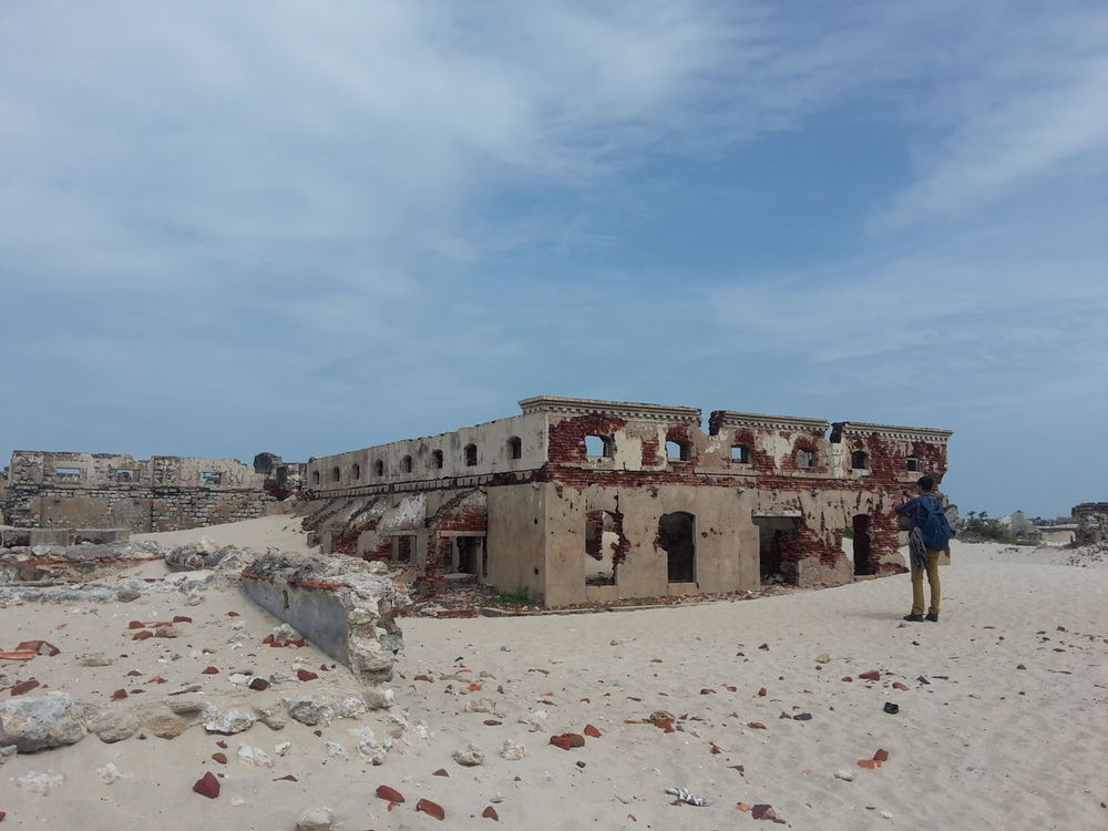 Devastated Life post office at dhanushkodi,tamilnadu,India, devastated due to the deadly cyclone in 1965