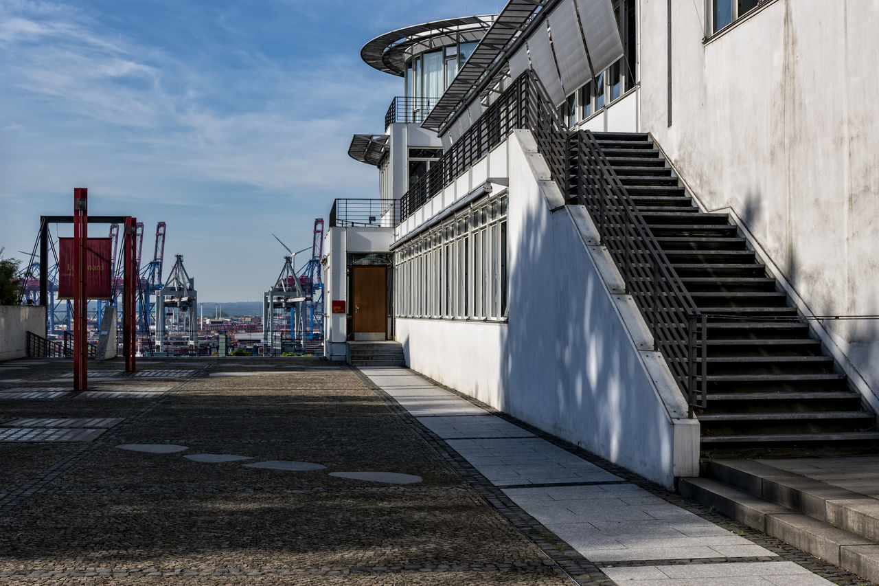 Le Canard Architecture Building Exterior Built Structure Day Elbe River Hamburg Hamburg Harbour Modern Architecture No People Outdoors Restaurant Sky Stairs Steps