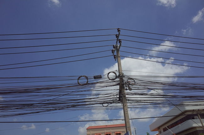 Bangkok Bangkok Thailand. Blue Cable Cloud Cloud - Sky Cloudy Day Electricity  Low Angle View Nature No People Outdoors Power Line  Power Supply Sky