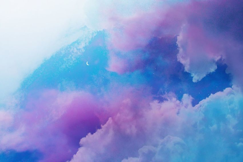 Abstract Blue Blue Sky Cloud - Sky Clouds Colorful Moon Multi Colored Night Night Sky Pink Color Pink Sky Sky Stars