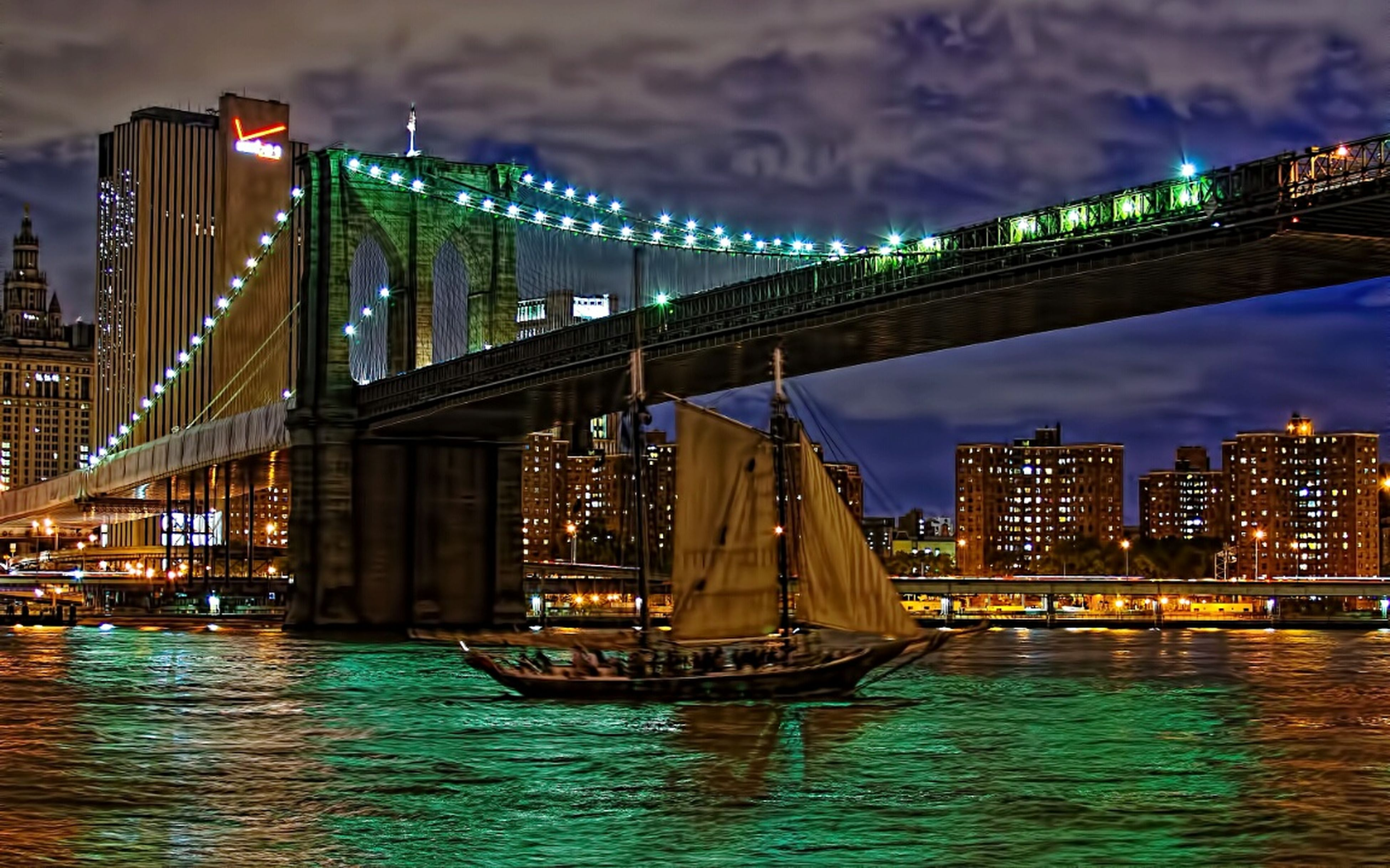 architecture, built structure, water, waterfront, bridge - man made structure, connection, illuminated, river, engineering, city, transportation, sky, building exterior, bridge, night, suspension bridge, sea, dusk, cloud - sky, travel destinations