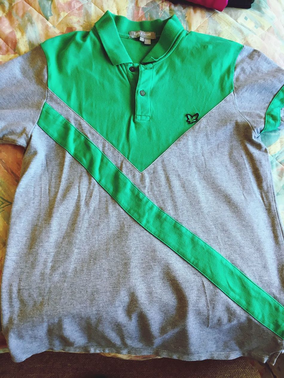 "Lyle &a Scott Golf Shirt, adult medium and in great condition. ""For sale at £15"" Green Color Textile Full Frame Fabric Backgrounds Sheet Indoors  Bed No People Close-up Crumpled Paper Bedroom Day Golfing Golf Sport T-shirts Stripes Pattern Mensfashion"