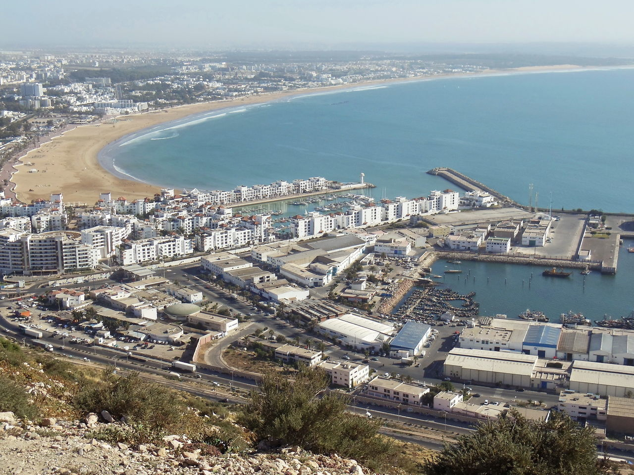 The view at Agadir, Morocco Aerial View Agadir City Architecture Bay Building Exterior Built Structure City Cityscape Coastline Day Flying High High Angle View Morocco MoroccoTrip Nautical Vessel No People Outdoors Port Sea Sky Travel Destinations Water