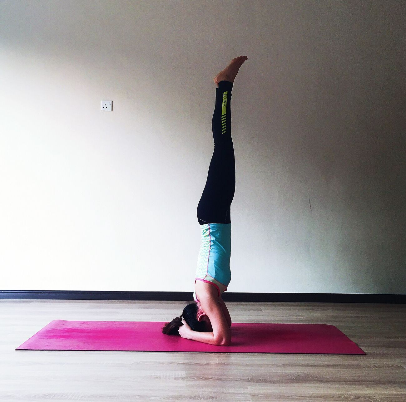I Love Yoga Full Length Yoga Healthy Lifestyle Exercise Mat Exercising Real People One Person Balance Lifestyles Indoors  Flexibility Strength Upside Down Sports Clothing Sport Self Improvement People One Woman Only Adults Only Adult