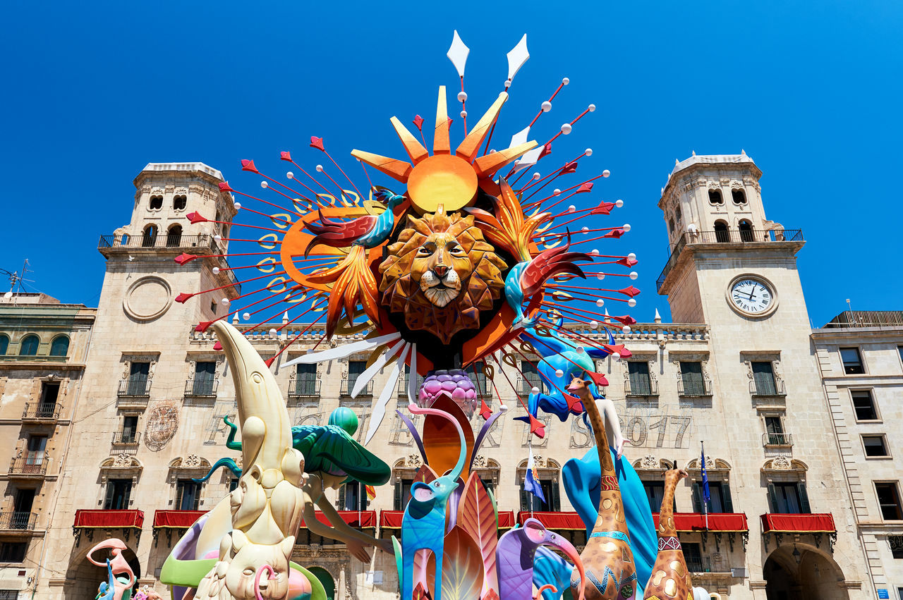 Alicante, Spain - June 20, 2017: The Bonfires of Saint John holiday in the Alicante city. Decorations, are structures made of cardboard, wood or cork, which are exhibited in the streets of Alicante during the festival and are set on fire on the last day of the event. Spain 2017 Alicante, Spain Annual Event Carton City City Center Colorful Costa Blanca Day Decoration Europe Event Holiday Nobody Preparation  Seasonal SPAIN Summer Summertime Sunny Symbol The Bonfires Of Saint John Tradition Traditional Festival Wooden