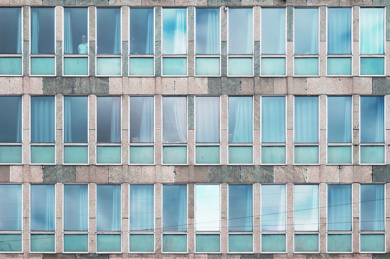 Architecture Backgrounds Blue Building Built Structure City Day Facades Façade Full Frame Low Angle View Modern No People Office Building Outdoors Repetition Side By Side Sky