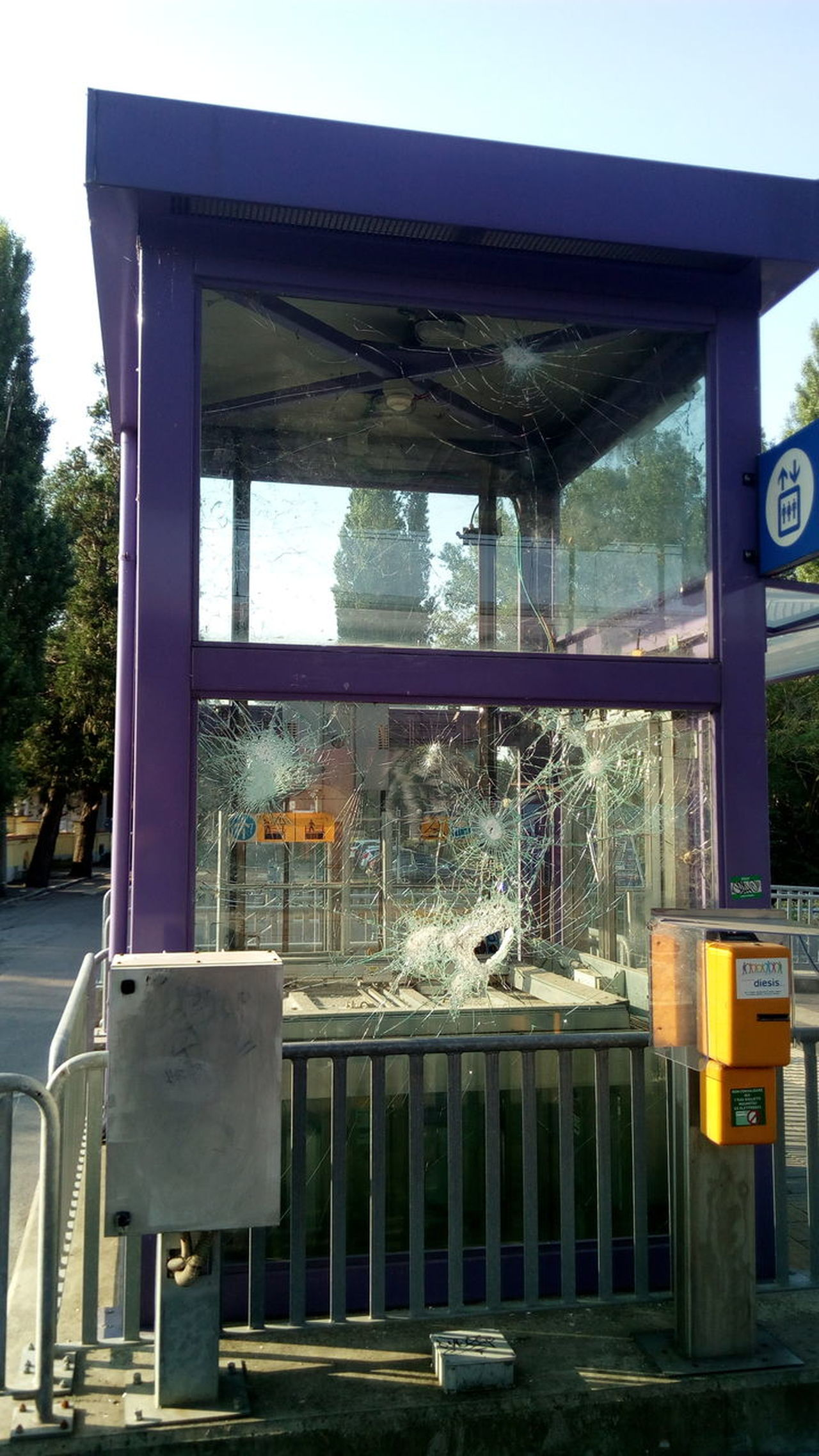 Outdoors Built Structure Vandalism Glass Lift Tower No People Day Destruction Railway Station