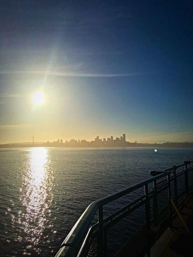 Bainbridge Island Ferry Ferry Ferry Passengers Seattle Seattle Skyline Seattle, Washington Sunrise Washington Ferry My Commute