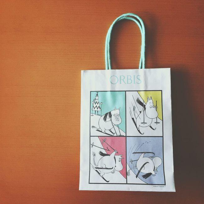 いつも袋は断るのだけど、ムーミンの紙袋は断れなかった·͜ ·♡ オルビス Orbis ムーミン Moomin 紙袋 ショップ袋