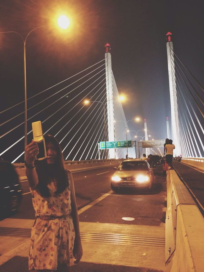 Pretty girl Selfie on the Penang Bridge !