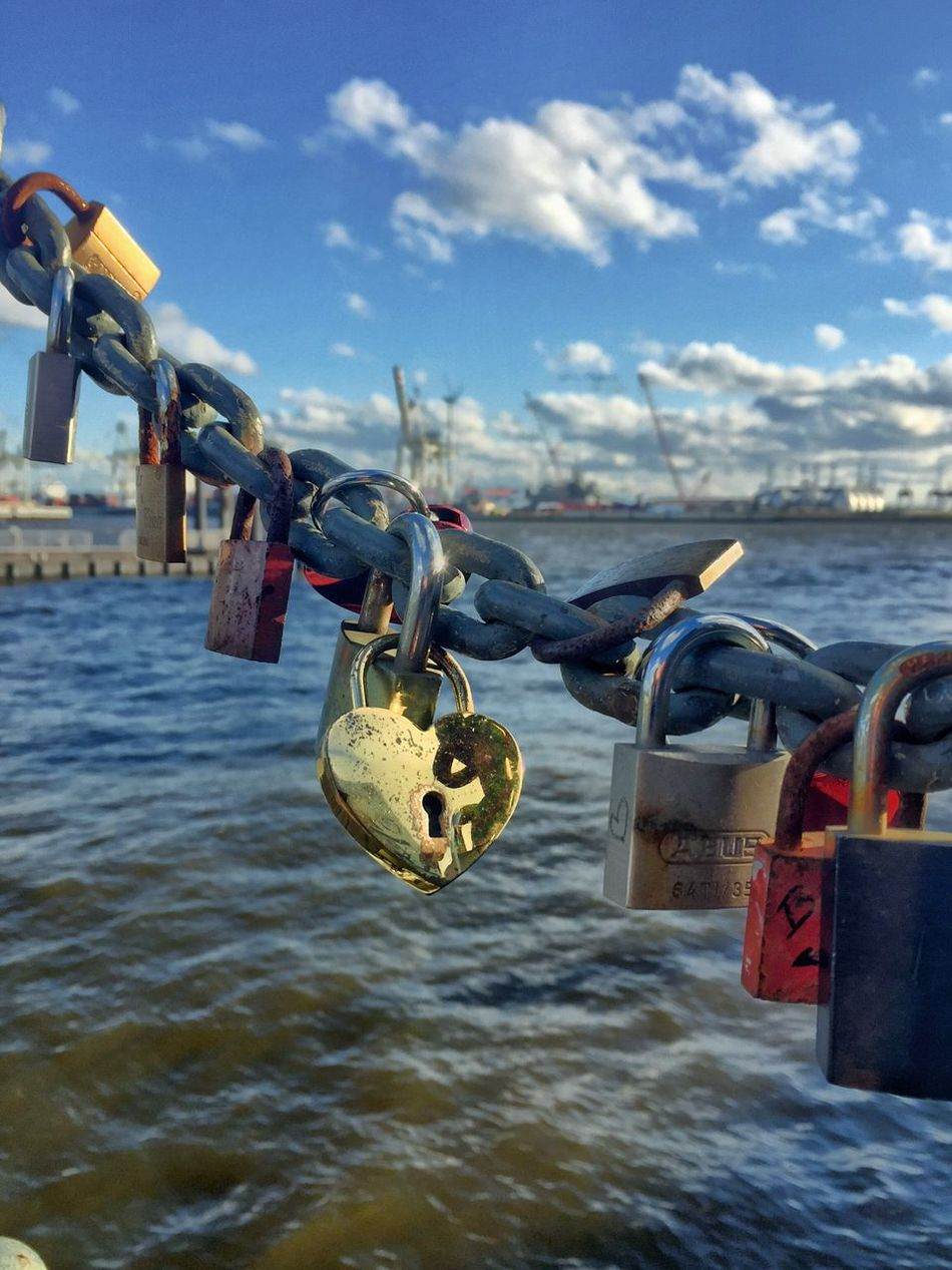 Golden Heart - Heart Welovehh Harbour Padlock Lock Security Safety Protection Love Lock Metal Hanging Water Safe Railing Hope No People Love River Chain Close-up Day Sky Focus On Foreground