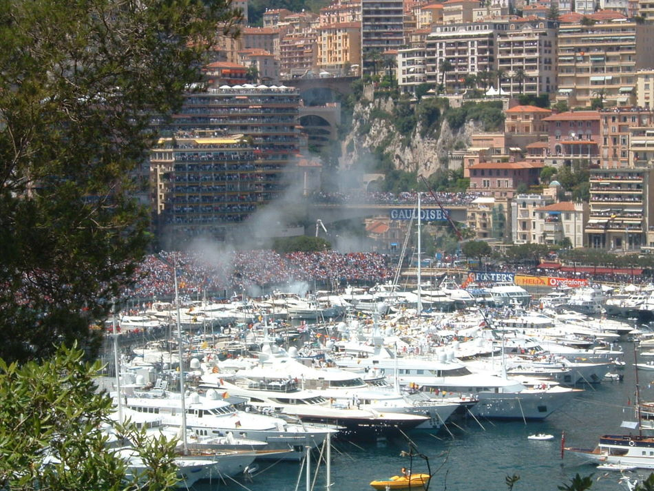 Monaco Gran Prix car on fire Gran Prix Monaco Outdoors Water