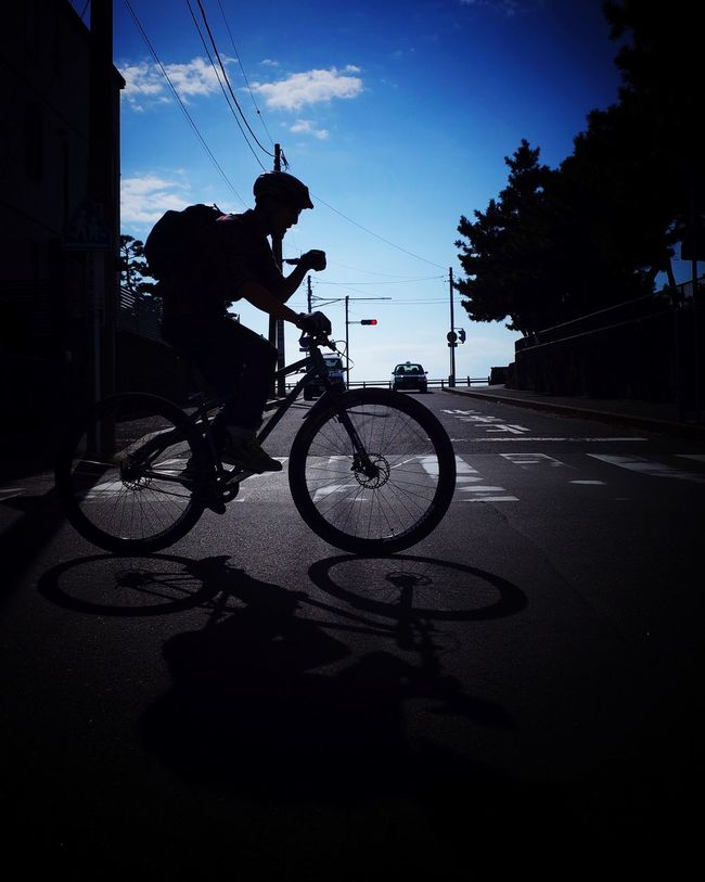 Bicycle Silhouette Streetphotography Street Photography Shadow Road Street Blue Sky