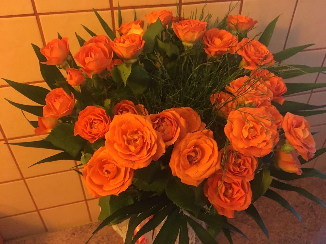 Roses Orange Color Buquet Flower