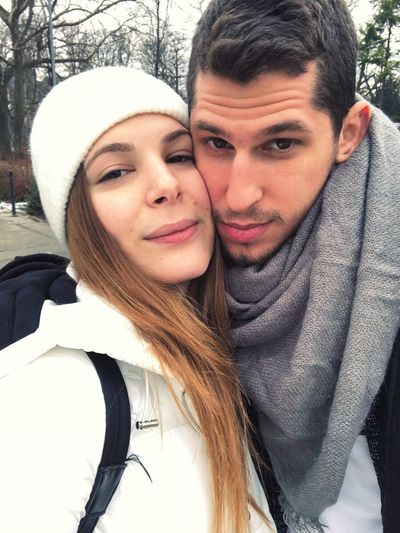 Two People Portrait Togetherness Looking At Camera Love Front View Warm Clothing